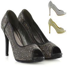 Para mujeres Zapatos De Novia Plataforma Señoras Diamante Boda Baile de graduación Fiesta Peeptoe Tacones