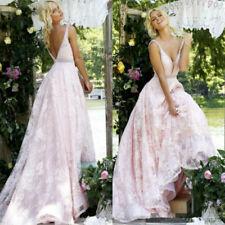 Bohemian Deep V Neck Blush Pink Wedding Dresses Bridal Gowns Plus Size Custom