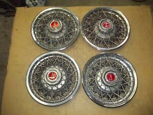 "1980 80 Pontiac Sunbird Hubcap Rim Wheel Cover Hub Cap 13"" WIRE SPOKE SET 5043A"