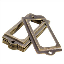 12Pcs Antique Brass Metal Label Pull Frame Handle File Name Card Holder For Furn