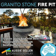 Outdoor Fire Pit Granito Stone Base Round Black Iron Bowl Firepit Fireplace BBQ