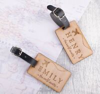 2pcs Personalised Wooden Luggage Tags Mr and Mrs Aeroplane Custom Tags