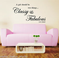 CLASSY FABULOUS WALL QUOTES WALL DECAL STICKERS WALL ART QUOTE Coco Chanel New47