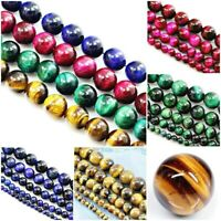"Natural Tiger's Eye Round Loose Beads 15"" 4 6 8mm 10mm 12mm Gold Pink Rose Blue"