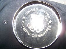 United State Olympic Committee etched glass paperweight