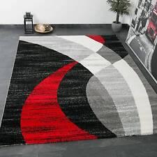 Teppich Modern Design Kurzflor Trend Rot Grau Schwarz Geschwungene Streifen