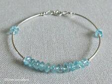 Natural Handcut Blue Apatite Gemstones & Sterling Silver Tubes Bangle Bracelet