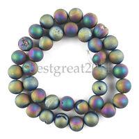 "1Strand10mm Titanium Crystal Agate Druzy Quartz Geode Stone Loose Bead 15"""