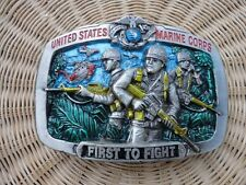 Pewter Belt Buckle United States Marine Corps First to Fight Great American