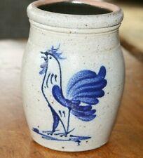 6.5'' Rowe Pottery Works Salt Glazed Crock - Rooster - Chicken