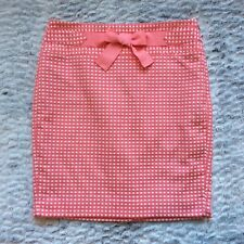 Ann Taylor LOFT Women's Skirt Size 6 Straight Pink White Polka Dots Front Bow