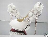 White beautiful Vogue lace Flowers Crystal High Heels Wedding Bridal Shoes Hot