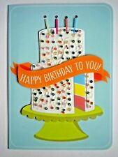 "C.R.GIBSON ~ EMBELLISHED ""HAPPY BIRTHDAY TO YOU!"" CAKE GREETING CARD + ENVELOPE"