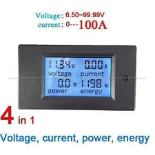 DC 100A LCD Meter Spannung Strom KWh Watt Car Battery Panel Power Monitor+shunt
