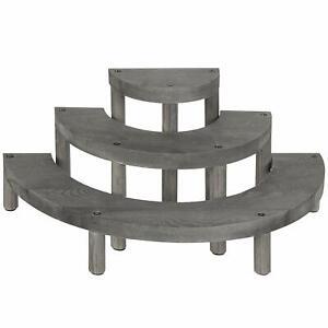 MyGift 3-Tier Vintage Grey Wood Semicircle Cupcake Display Stand