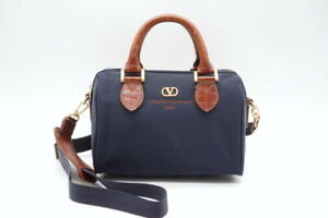VALENTINO GARAVANI Vintage 2way Mini Boston Shoulder Handbag Nylon Navy 3802h
