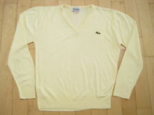 ULTRA RARE!! 80s vtg PALE YELLOW lacoste CASHMERE wool V NECK izod SWEATER large