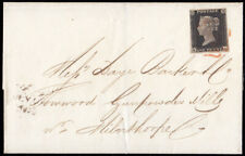SG2 1840 1d. Black plate 2, KD. Fine used on cover, London to Milnthorpe, to ...