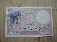FRANCE BILLET DE 5 FRANCS 31 08 1933  (c64)