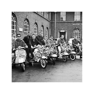 Mods In Their Scooters in Peckham UK May 1964 Print 4 60x60cm