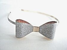 Women's Silver And Gold Tone Headband Sparkle Finish Bow New With Tag