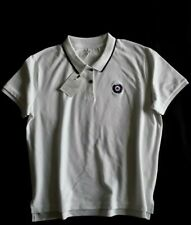 Womens mod/fred perry style polo shirt. White with navy trim. Size XL
