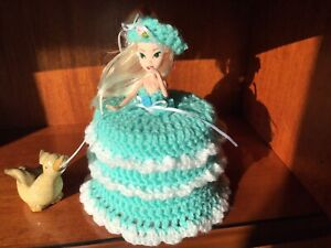 Crochet Turquoise Toilet Roll Doll Cover