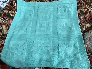 NEW Handmade knitted 29inx31in baby blanket/afghan-gift idea MINT c0lor
