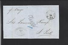 NEW YORK, NEW YORK 1858 STAMPLESS INCOMING FROM VERA CRUZ,N.Y. STEAMSHIP 10 CL.