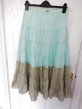 REISS Size 10 (US 6/EU 38) Blue Grey/Beige 100% Silk Long Skirt Boho Lined
