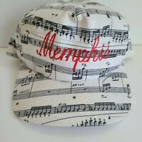 Vintage Memphis TN Snapback Hat All Over Print Music Notes Blues Flat Brim Lid