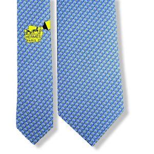 Hermes Blue/Fluo Yellow Highlighter STABILO BOSS HeavyTwill Silk Tie 8cm NEW