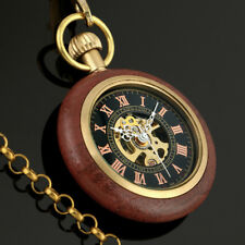 Black Dial Hand-winding Mechanical Mens Pocket Watch Golden With Chain Open Face