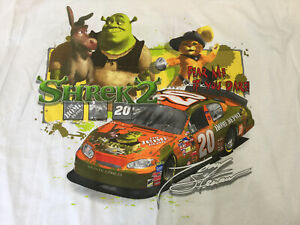 Vintage NASCAR Shirt Shrek2 Tony Stewart Home Depot Racing Tee Shirt New Med NOS