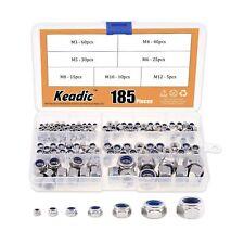 Keadic 185Pcs 304 Stainless Steel Metric Nylon Insert Lock Nut Assortment Kit...