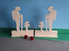 2 x Standing Figure Fallen Soldier ( Large ) And 2 Poppies