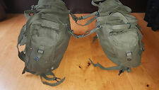POST WW2 PAIR ARMY MOTORCYCLE PANNIERS MILITARY HEAVY DUTY CANVAS GREEN BIKE OG