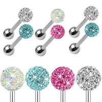 Stainless Steel Crystal Ball Czech Barbell Bar Tongue Piercing Studs Pins R Y3J8