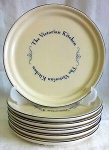 1869 VICTORIAN POTTERY COMPANY - SET 6 VICTORIAN KITCHEN 19.5cm TEA SIDE PLATES