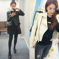 New Size S~ 3XL NEW Womens Jacket Leather Slim Fit Ladies ZIP Coat Casual Black