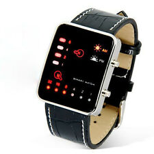 Hot Women Mens Digital Red LED Sport PU Leather Binary Fashion Wrist Watch New