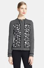 Oscar de la Renta Embroidered Tweed Jacket US 12   UK 16 black/white NEW $2.6K