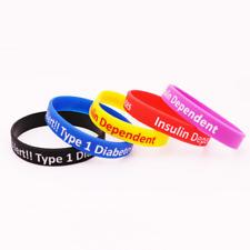 Type 1 Diabetes Insulin Dependent Medical Alert Silicone Rubber Wristband bracel
