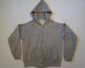 Vintage 1960's Gray Stripe Hooded Sweatshirt Hoodie sz M