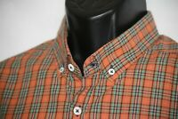 Billy Reid Men's orange XXL shirt plaid w button down collar long sleeve shirt