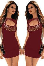 Mini Abito nero aperto Borchie Nudo Gold Studs Neck Mini open dress clubwear M