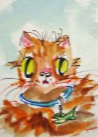 aceo Fluffy cat kitten animal pet watercolor painting art Delilah
