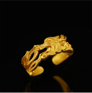 Gorgeous Dragon Opening Adjustable Ring Antiques Gold Color Lucky Rings Men Wome