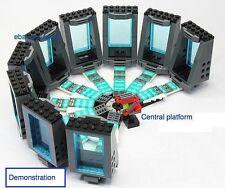 IRON MAN lab complete set up w custom brick, decal, hall of armor + platform