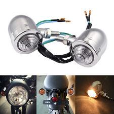 2x Motor Bike LED Turn Signals Mini Bullet Blinker Indicator Lights Lamp White-L